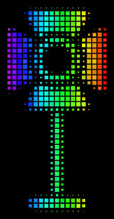 Dotted colorful halftone spotlight rack icon drawn with spectrum color tints with horizontal gradient on a black background. Ilustrace