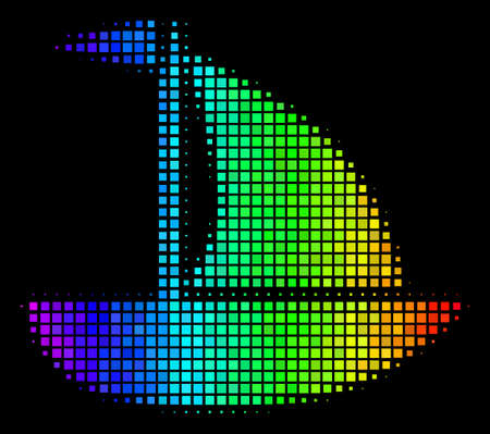 Dot bright halftone yacht icon drawn with spectrum color shades with horizontal gradient on a black background. Colorful vector pattern of yacht pictogram designed with rectangular items. Illustration