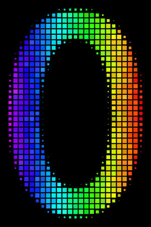 Pixel bright halftone zero digit icon in spectrum color shades with horizontal gradient on a black background. Multicolored vector mosaic of zero digit illustration created from square dots.