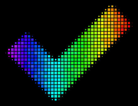 Pixel impressive halftone yes icon drawn with rainbow color tints with horizontal gradient on a black background. Colorful vector mosaic of yes pictogram combined from square points.