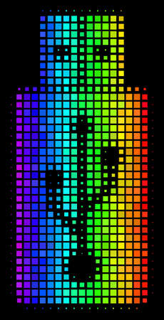 Dot bright halftone USB flash drive icon drawn with spectrum color tones with horizontal gradient on a black background. Color vector concept of USB flash drive illustration shaped with square cells.