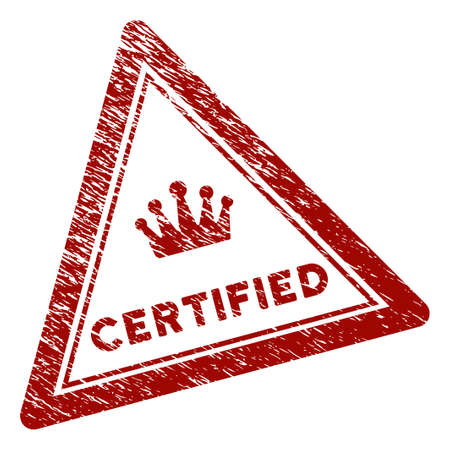 Certified triangle rubber stamp seal. Vector element with distress design and dust texture in red color. Designed for overlay watermarks and distressed seal prints.