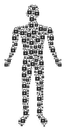 Lock man representation. lock icons are grouped into person composition.