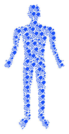 Male power pill man figure. male power pill icons are composed into person illustration.