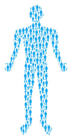 Man user person representation. man user icons are composed into person mosaic.