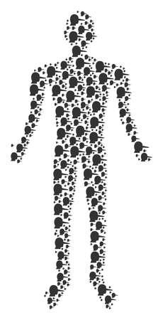 Lier human avatar. lier icons are organized into man mosaic. Illustration