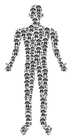 Human anatomy human representation. human anatomy icons are combined into person mosaic. Illustration