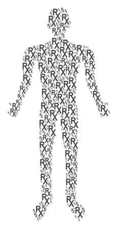 Rx medical symbol person figure.
