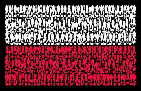 Poland National Flag concept constructed with exclamation sign design elements. Flat vector exclamation sign icons are united into mosaic Polish flag illustration on a black background. Vectores