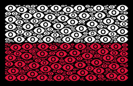 Poland State Flag composition organized from eye elements. Flat vector eye icons are combined into mosaic Poland flag illustration on a black background.