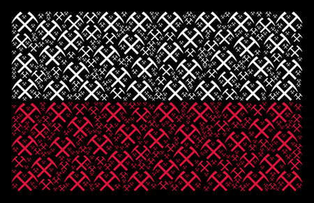 Poland Flag mosaic composed with mining hammers elements. Flat vector mining hammers icons are arranged into geometric Poland flag composition on a black background. Illustration