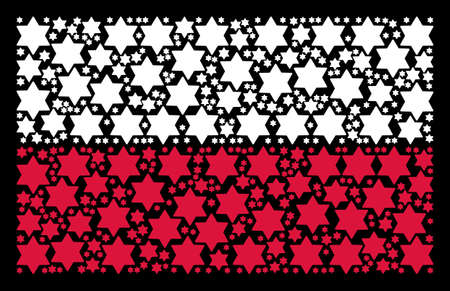 Poland National Flag mosaic composed with six pointed star pictograms. Illustration