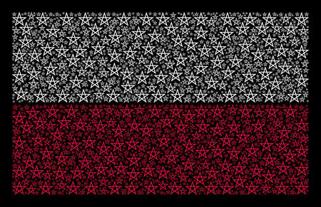 Polish State Flag pattern constructed with star pentagram pictograms. Flat vector star pentagram symbols are composed into mosaic Polish flag illustration on a black background.