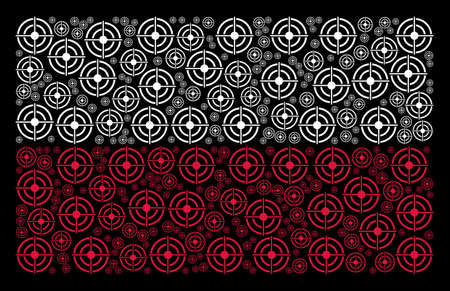 Poland State Flag pattern made with target bullseye elements. Flat vector target bullseye symbols are united into conceptual Poland flag pattern on a black background.