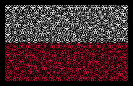 Poland State Flag composition made with star pentacle elements. Flat vector star pentacle icons are organized into mosaic Polish flag composition on a black background.