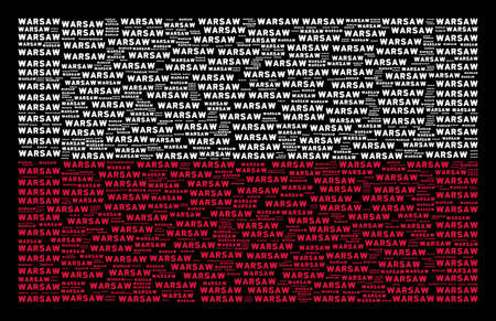 Poland National Flag concept organized with warsaw text pictograms. Flat vector warsaw text icons are composed into mosaic Poland flag composition on a black background. Vettoriali