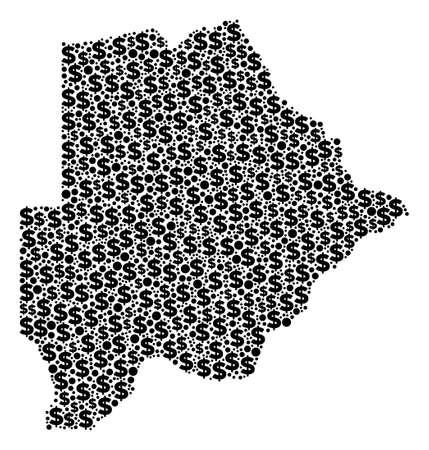 Botswana Kartenmosaik von Dollarzeichen und sphärischen Punkten in verschiedenen Größen. Abstrakte Vektorökonomie und BIP-Karte von Botswana. Geldzeichen und runde Punkte werden in der Vektorillustration des Geographieplans gruppiert.