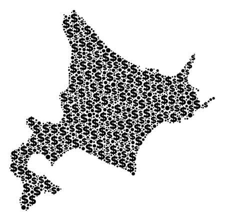 Hokkaido Island Kartenmosaik von Dollars und sphärischen Punkten in verschiedenen Größen. Abstrakte Vektorökonomie und BIP-Hokkaido-Inselkarte.