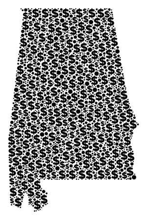 Alabama State Kartencollage aus Dollarzeichen und Kugelpunkten in verschiedenen Größen. Abstrakter Vektorreichtum und BIP Alabama State Map.
