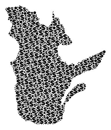Quebec Province map collage of dollar signs and spheric points in different sizes. Abstract vector economics and GDP Quebec Province map.