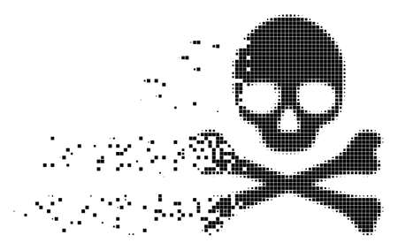 Fractured death skull dotted vector icon with disintegration effect. Square particles are grouped into damaging death skull figure.