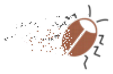 Dispersed bug dot vector icon with disintegration effect. Square pieces are combined into dissolving bug form. Pixel explosion effect shows speed and movement of cyberspace items.
