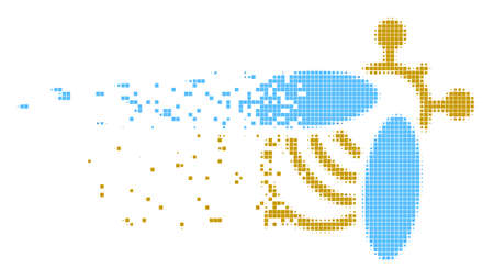 Dissolved bee dotted vector icon with disintegration effect. Square particles are grouped into dissolving bee figure.