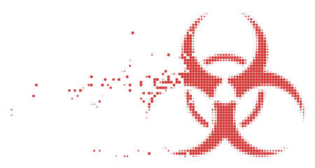Fractured biohazard dot vector icon with disintegration effect. Rectangle items are combined into dissipated biohazard form.