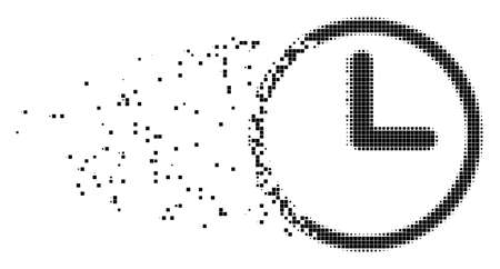 Dispersed clock dot vector icon with disintegration effect. Square fragments are organized into disappearing clock form. Pixel defragmentation effect shows speed and movement of cyberspace items.