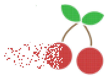 Fractured cherry dot vector icon with disintegration effect. Rectangle dots are organized into disappearing cherry figure. Pixel dust effect demonstrates speed and motion of cyberspace items.