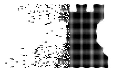 Dispersed chess tower dotted vector icon with disintegration effect. Rectangular points are arranged into disappearing chess tower form. Vettoriali