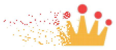 Dispersed crown dot vector icon with disintegration effect. Rectangle particles are combined into damaging crown figure. Pixel dissolving effect shows speed and motion of cyberspace concepts.
