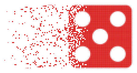 Dissolved dice dotted vector icon with disintegration effect. Square pixels are composed into disappearing dice form. Pixel dissolving effect shows speed and motion of cyberspace items.