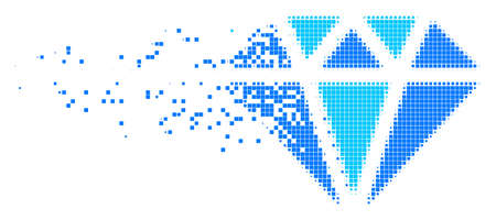 Fractured diamond dotted vector icon with disintegration effect. Square dots are grouped into dispersed diamond form. Pixel disintegration effect shows speed and movement of cyberspace things.