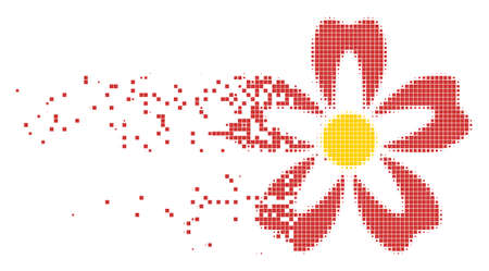 Fractured flower dot vector icon with disintegration effect. Rectangle pixels are composed into dispersed flower form. Pixel dissolution effect shows speed and motion of cyberspace things. Illustration