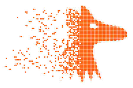 Fractured fox head dotted vector icon with disintegration effect. Rectangular dots are combined into dispersed fox head form. Pixel dissolving effect shows speed and motion of cyberspace matter.