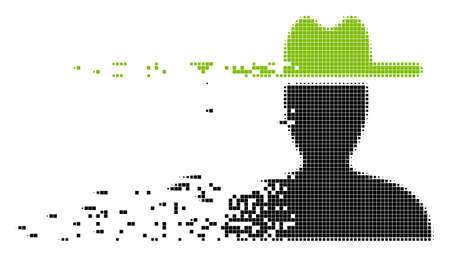 Dispersed farmer dot vector icon with disintegration effect. Rectangular points are arranged into disappearing farmer figure.