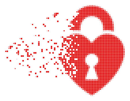 Fractured heart lock dot vector icon with disintegration effect. Square cells are composed into dissolving heart lock shape. Illustration