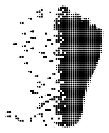 Dissolved human footprint dot vector icon with disintegration effect. Square dots are organized into damaging human footprint shape. Illustration