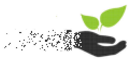 Dissolved eco startup hand dotted vector icon with disintegration effect. Rectangle pieces are grouped into dissipated eco startup hand form. Illustration