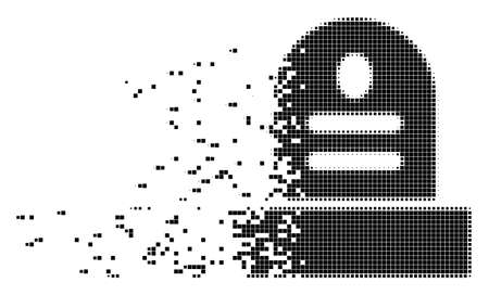 Dispersed grave dotted vector icon with disintegration effect. Rectangular points are composed into dissolving grave shape.