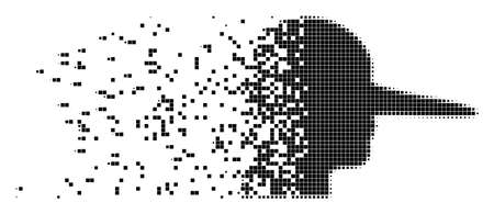 Dissolved lier dot vector icon with disintegration effect. Rectangle particles are composed into dissipated lier shape.