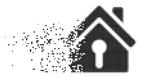 Dissolved home keyhole dotted vector icon with disintegration effect. Rectangular pixels are organized into damaging home keyhole shape. Vectores