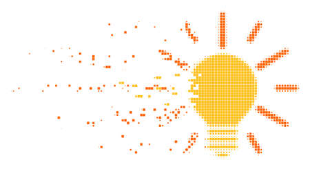 Dispersed light bulb dot vector icon with disintegration effect. Rectangle items are organized into dissolving light bulb figure.