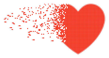 Dissolved love heart dotted vector icon with disintegration effect. Rectangular elements are arranged into dissipated love heart form. Illustration