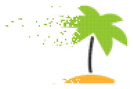 Dispersed island tropic palm dot vector icon with disintegration effect. Rectangle dots are grouped into dispersed island tropic palm shape.