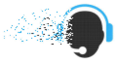 Dissolved operator head dot vector icon with disintegration effect. Rectangular elements are combined into disappearing operator head shape. Illustration