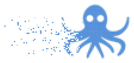 Dispersed octopus dotted vector icon with disintegration effect. Rectangular particles are combined into dissipated octopus form. Illustration