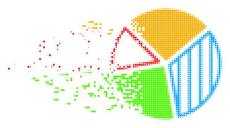 Fractured pie chart dot vector icon with disintegration effect. Square items are combined into dispersed pie chart figure. Pixel dissolution effect shows speed and motion of cyberspace objects.