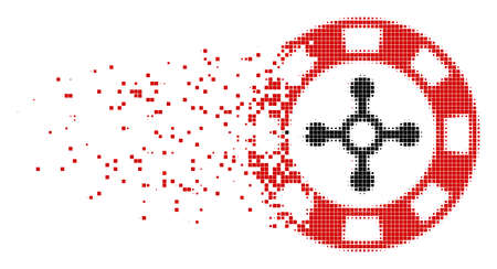 Fractured roulette casino chip dot vector icon with disintegration effect. Rectangle elements are organized into dissipated roulette casino chip shape.